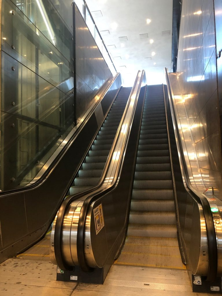 Two escalators