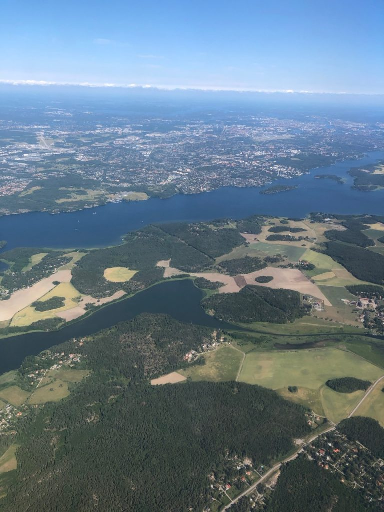 Aerial view of approach to Arlanda airport in Sctockholm